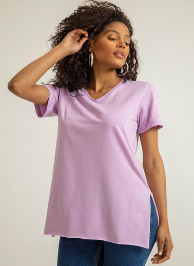 Foremia V Yaka Basıc T-Shirt Lila